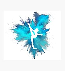 Gymnast Silhouette - Blue Explosion  Photographic Print