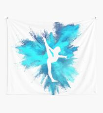 Gymnast Silhouette - Blue Explosion  Wall Tapestry