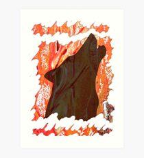 HOWL - WILD WOLF IN SILHOUETTE  Art Print