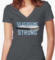 Silverdome Strong - Legendary Pontiac Football Stadium Gear Women's Fitted V-Neck T-Shirt
