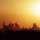 Melbourne sunset skyline by evapod