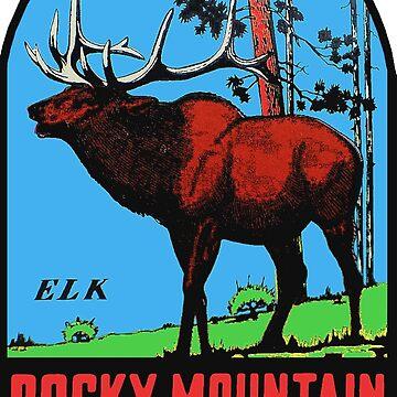 Calcomanía de viaje vintage del Parque Nacional de las Montañas Rocosas de hilda74