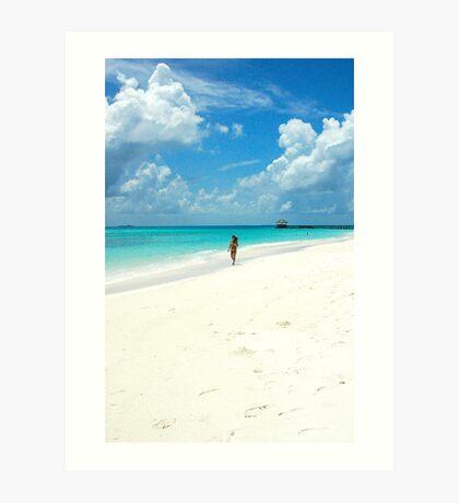 Walking On Paradise Beach Art Print