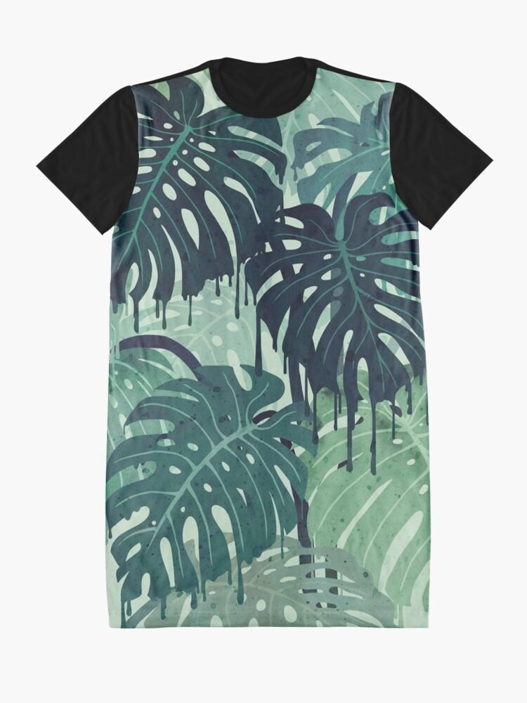 Vista alternativa de Vestido camiseta Monstera Melt (en verde)