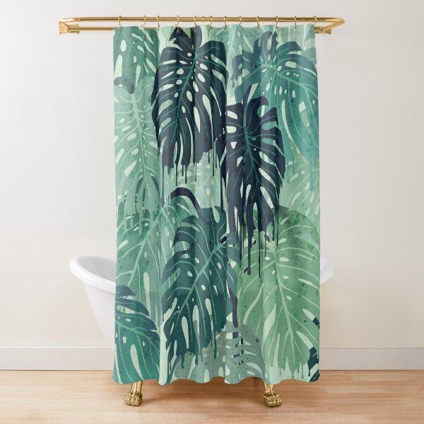 Monstera Melt (in Green) Shower Curtain