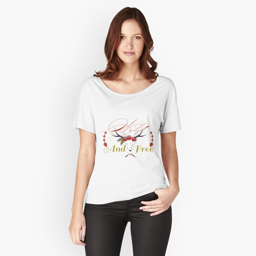 Wild and Free, Boho print, Deer, Bohemian,  Relaxed Fit T-Shirt