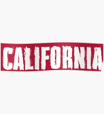 California Distressed Letters Poster