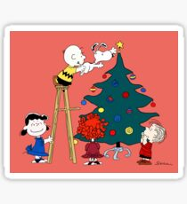 Decorating the Christmas Tree with Charlie Brown, Snoopy and Other Peanuts Characters Sticker