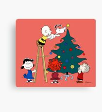 Decorating the Christmas Tree with Charlie Brown, Snoopy and Other Peanuts Characters Canvas Print