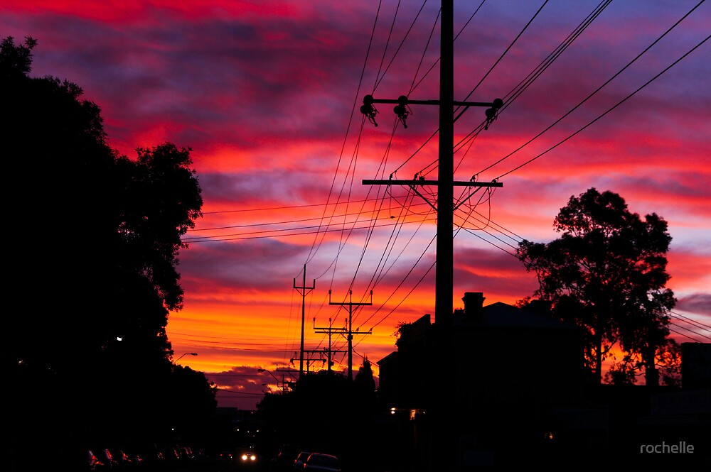 Sunset over Adelaide Suburbs by rochelle