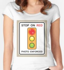 Stop on Red sign Women's Fitted Scoop T-Shirt