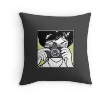 Vintage Diana Camera Woman Photographer Throw Pillow