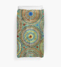 Ethnic geometric circles pattern with golden accents Duvet Cover