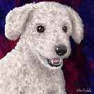 Painting of a Cute Fluffy White Maltipoo Smiling on Red and Purple Background by ibadishi
