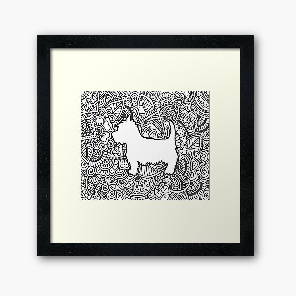 Westie zentangle black and white 2 Framed Art Print