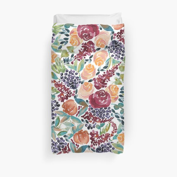 Watercolor Bouquet Hand-Painted Roses Celosia Bilberries Leaves Duvet Cover