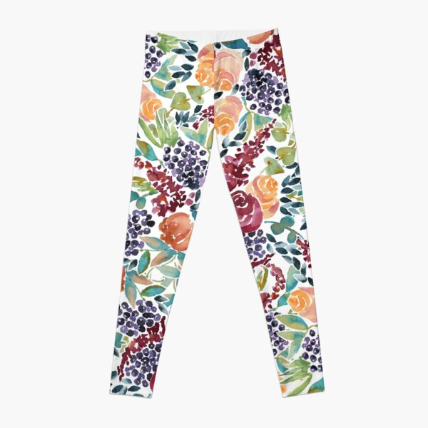 Watercolor Bouquet Hand-Painted Roses Celosia Bilberries Leaves Leggings