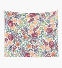 Watercolor Bouquet Hand-Painted Roses Celosia Bilberries Leaves Wall Tapestry