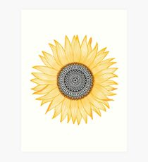 Golden Mandala Sunflower Art Print