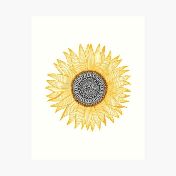 Golden Mandala Sunflower Art Print