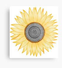 Golden Mandala Sunflower Metal Print
