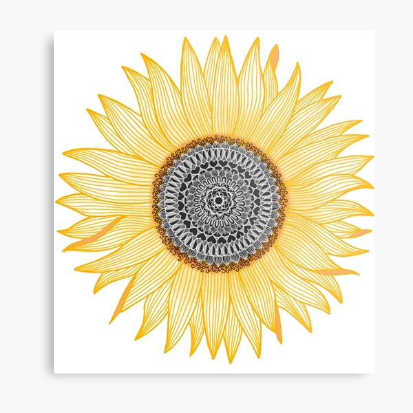 Golden Mandala Sunflower Metal Print
