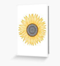 Goldene Mandala-Sonnenblume Grußkarte