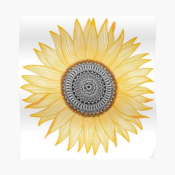 Golden Mandala Sunflower Poster