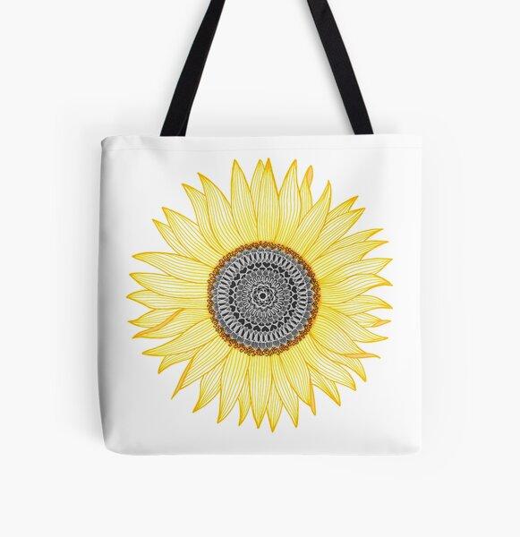 Golden Mandala Sunflower All Over Print Tote Bag