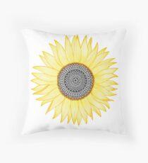 Golden Mandala Sunflower Throw Pillow