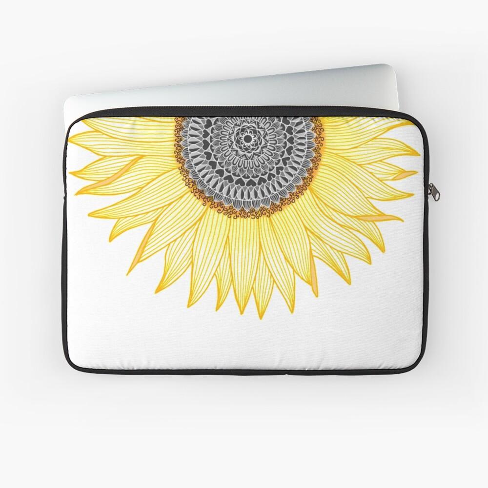 Goldene Mandala-Sonnenblume Laptoptasche