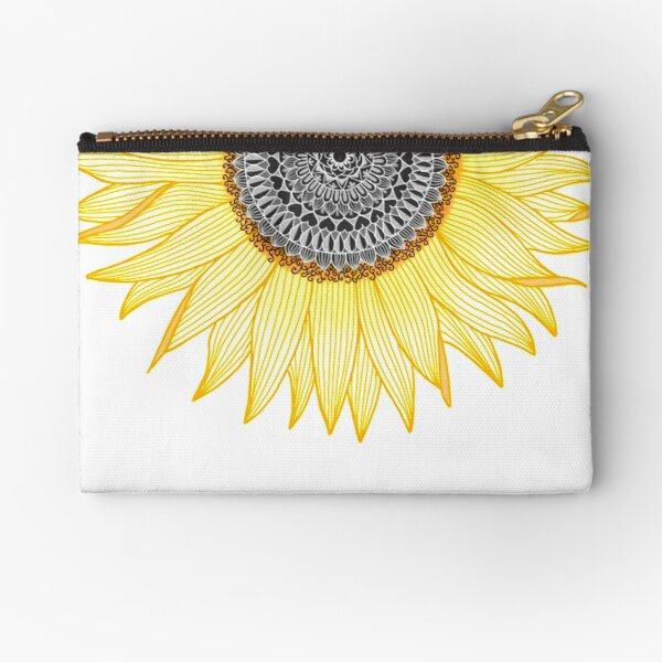 Golden Mandala Sunflower Zipper Pouch