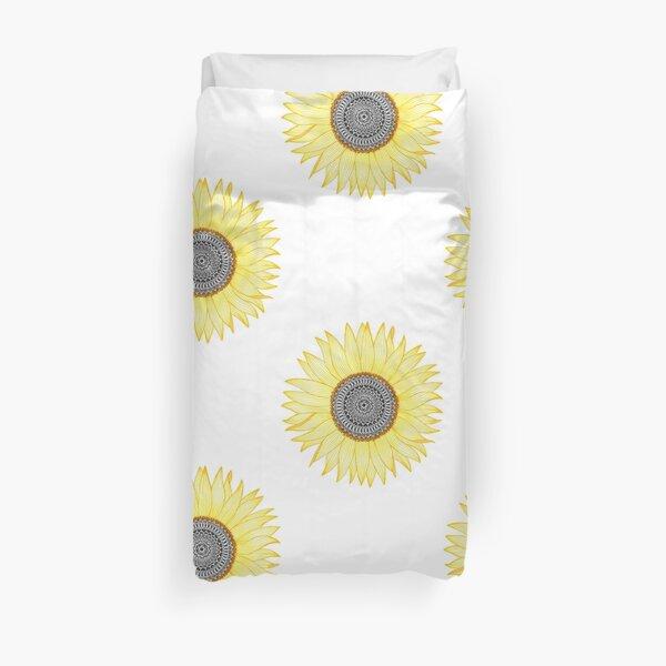 Golden Mandala Sunflower Duvet Cover