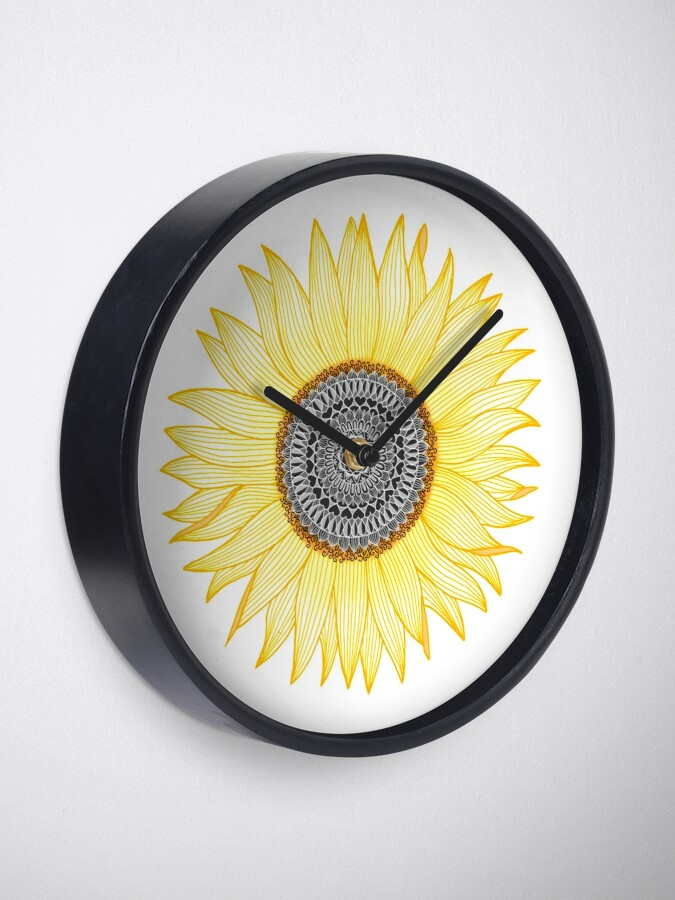 Alternate view of Golden Mandala Sunflower Clock