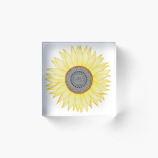 Goldene Mandala Sonnenblume Acrylblock