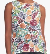 Watercolor Bouquet Hand-Painted Roses Celosia Bilberries Leaves Contrast Tank