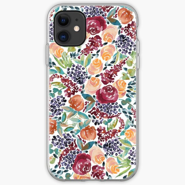 Watercolor Bouquet Hand-Painted Roses Celosia Bilberries Leaves iPhone Soft Case