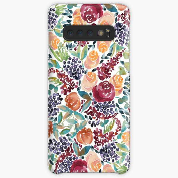 Watercolor Bouquet Hand-Painted Roses Celosia Bilberries Leaves Samsung Galaxy Snap Case