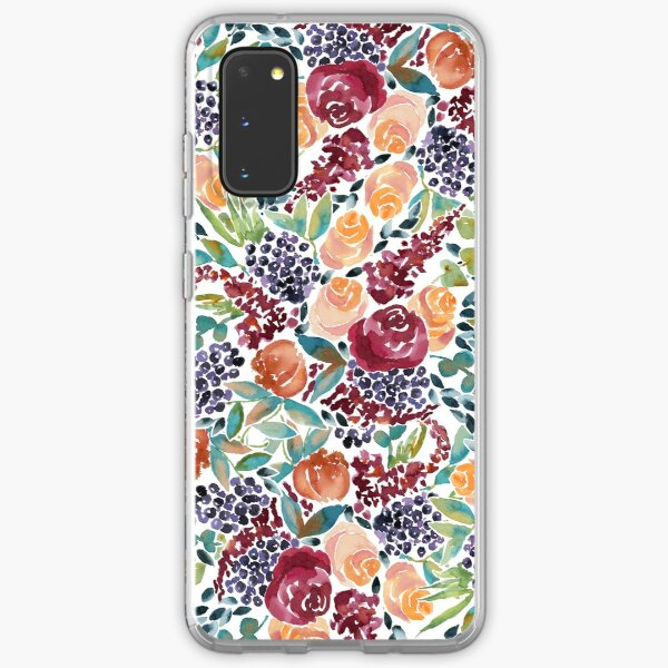 Watercolor Bouquet Hand-Painted Roses Celosia Bilberries Leaves Samsung Galaxy Soft Case