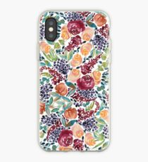 Watercolor Bouquet Hand-Painted Roses Celosia Bilberries Leaves iPhone Case