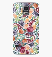 Watercolor Bouquet Hand-Painted Roses Celosia Bilberries Leaves Case/Skin for Samsung Galaxy