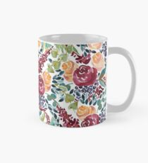 Watercolor Bouquet Hand-Painted Roses Celosia Bilberries Leaves Mug