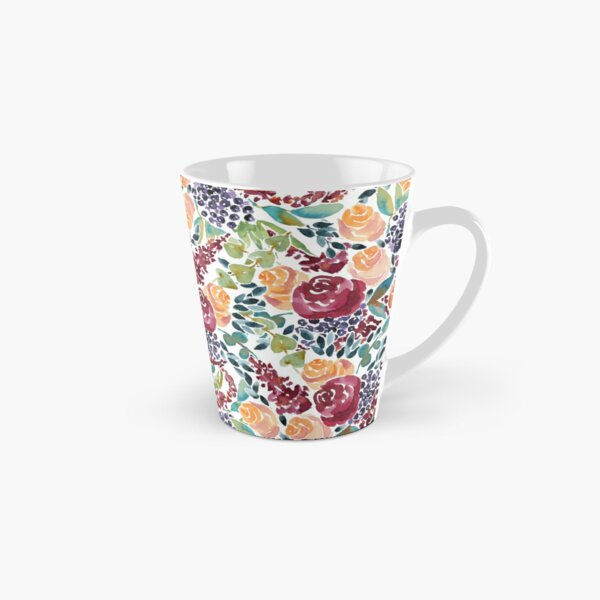 Watercolor Bouquet Hand-Painted Roses Celosia Bilberries Leaves Tall Mug
