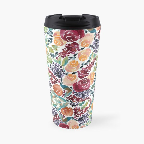 Watercolor Bouquet Hand-Painted Roses Celosia Bilberries Leaves Travel Mug