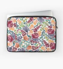 Watercolor Bouquet Hand-Painted Roses Celosia Bilberries Leaves Laptop Sleeve