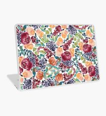 Watercolor Bouquet Hand-Painted Roses Celosia Bilberries Leaves Laptop Skin