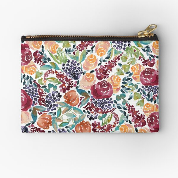 Watercolor Bouquet Hand-Painted Roses Celosia Bilberries Leaves Zipper Pouch