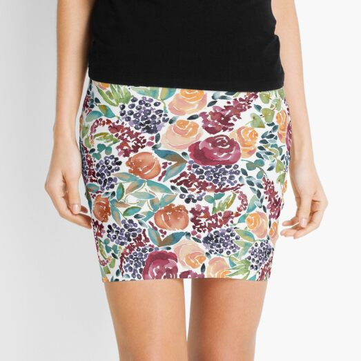 Watercolor Bouquet Hand-Painted Roses Celosia Bilberries Leaves Mini Skirt