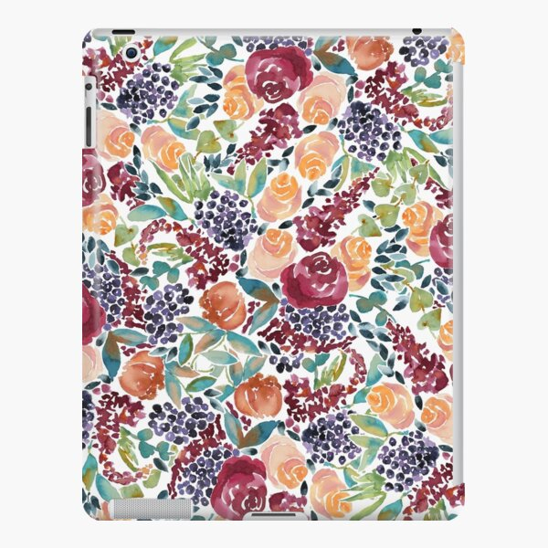 Watercolor Bouquet Hand-Painted Roses Celosia Bilberries Leaves iPad Snap Case