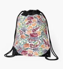 Watercolor Bouquet Hand-Painted Roses Celosia Bilberries Leaves Drawstring Bag